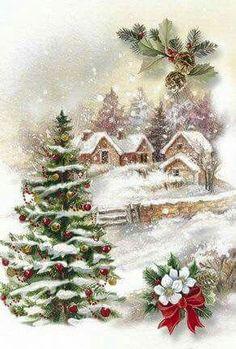 Resultado de imagem para vintage christmas card village