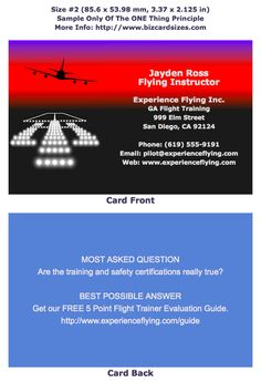 Size 2 Business Card For A Flight Instructor Learn To Choose And Use At