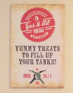 vintage car sign, this might be good for the sampler pack? I like the call out. American Made?