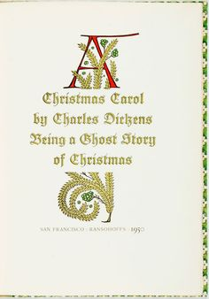Charles Dickens. A Christmas Carol. SanFrancisco: Ransohoffs, 1950.
