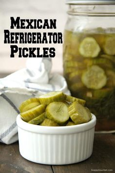 Mexican Refrigerator Pickles, easy homemade refrigerator pickles ready the next day with no canning needed! These quick and easy Mexican pickles can be made mild or spicy and full of flavor! Homemade Refrigerator Pickles, Refrigerator Pickle Recipes, Homemade Pickles, Homemade Tacos, Homemade Taco Seasoning, Quesadillas, Burritos, Enchiladas, Spicy Pickles