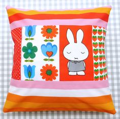 Handmade one of a kind 70s Miffy fabric Cushion by Janefoster, $49.00