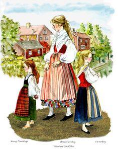 Varmland Mother and Girls Folk Costume, Costumes, Wish Gifts, Swedish Style, Scandinavian Art, Bridal Crown, My Heritage, Folklore, Denmark