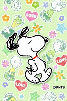 "LOVE:  Snoopy on a background which has red candy hearts with the word ""love"" & faint outlines of other Peanuts Gang characters on it.  --Peanuts Gang/Snoopy et al."