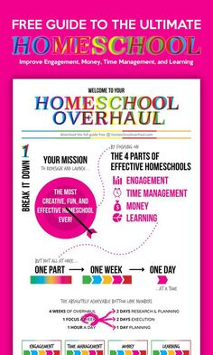 Add this to your homeschool binder! Homeschool Overhaul is the FREE guide that takes you step by step to improving 5 major homeschooling areas: engagement, money, time management, and learning. Homeschool Curriculum, Homeschooling Resources, Time Management, Middle School, High School, Lesson Plans, Alabama, Encouragement, Teaching