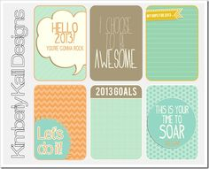 Free printable Hello 2013 journal cards