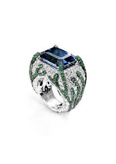 De Grisogono Diamonds Sapphire and Emerald Ring