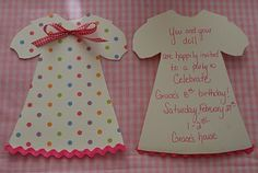 Cute baby doll birthday invitation.  The Princess and The Frog Blog: A Doll Party