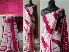 Lovely Combination of White & Pink Soft Shibori Print Chanderi Saree