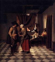 Pieter de Hooch (1629-1684) - Paying the Hostess, 1658 (1200x1072)