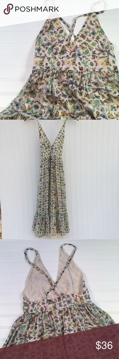 """J. Crew Silk Butterfly Sun Dress Gorgeous J. Crew Silk dress in butterfly, insect, and leaf pattern. Fully lined. Hidden zipper. Tiered at bottom. Great condition. Only noted flaws- appears one strap was re-secured on the back; stitches that encouraged front """"V"""" to stay together are loose or have come undone (these may not be original anyway).... see last two photos. Size 0. Waist (laying flat) measures approx 12.25"""". J. Crew Dresses"""