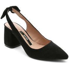 Kensie Women's Annamaria Suede Slingback Pumps ($53) ❤ liked on Polyvore featuring shoes, pumps, black, slingback pumps, suede pumps, suede shoes, pointed-toe pumps and black suede shoes
