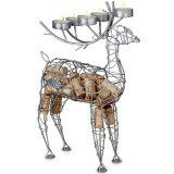 """91-069 Silver Tone Reindeer Candelabra Wine Bottle Holder & Cork Cage by Epic Products. $37.50. Measures 15"""" tall and 8"""" across. 5 tea lights in the antlers bathe your room with a warm glow. Turn your leftover wine bottle corks into a beautiful work of art. Crafted from delicate metal with a silver finish. This reindeer is sure to be a big seller this holiday season with it's artisan craftsman-ship and multi-funtionality. For cork collection, you can deposit corks through ..."""