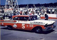 Sam Hanks 57 Mercury & Jerry Unser 57 Ford @ Milwaukee