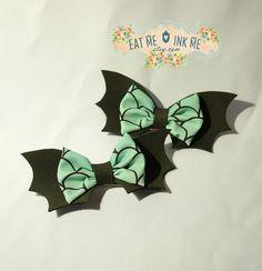 Bat hair clip batty chan hair bow in mint with by EatMeInkMe