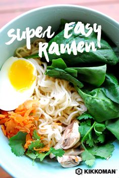 Japanese ramen soup has been steadily growing in popularity for the past few years and it's easy to see why: simple, honest ingredients in a one dish meal, add a zing of ginger, a hint of Soy Sauce, and your bowl of comfort food is ready to go. This is the kind of recipe that is best served piping hot! | This Super Easy Ramen and hundreds of other recipes are available on KikkomanUSA.com!