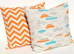 Decorative Throw Pillow Covers Orange and Turquoise on Natural Boy Bedroom 20 x 20 NEW - Pillows Cushion Covers  Cars and Motorcyles. $36.00, via Etsy.