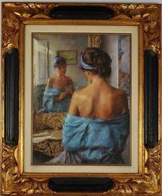 """Lote 1031 - VICENTE ROMERO - ORIGINAL - Pintura a pastel de óleo sobre cartão, assinada V. Romero, motivo """"A Rosa"""", com 60x45 cm (moldura dourada com 88x73 cm). Pintor espanhol nascido em 1956 em Madrid. Em 1982, completou os estudos de Arte na Faculdade de Belas Artes de San Fernando, em Madrid. Embora formado em pintura a óleo, nos últimos anos, é cada vez mais um pintor de técnica a pastel, com uma delicadeza e mestria únicas, presentes nas suas obras - Price Estimate: €0 - $0"""