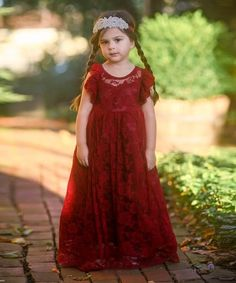 b5f685074ead Loving this Wine Evaline Angel-Sleeve Gown - Toddler & Girls on #zulily
