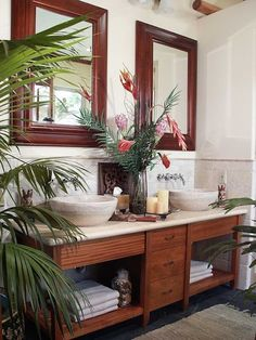 Eye For Design: Tropical British Colonial Interiors  These surfaces are easy to maintain and more durable than just wooden counter tops