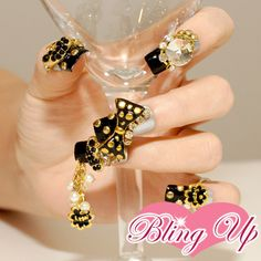 Japanese Black and Gold All Metal 3D Nail Art Ribbon Black Tipped Nails.
