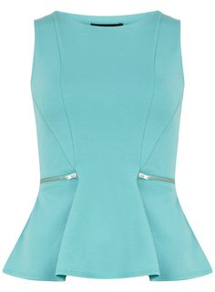 Aqua zip peplum top - Going Out Tops - Tops - Clothing - Dorothy Perkins United States