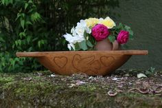 Your place to buy and sell all things handmade Grainsack, Wooden Dough Bowl, Serving Bowls, Hand Carved, Wax, Autumn, Fruit, Antiques, Tableware