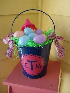 Monogram Tin Pail Easter Basket (Navy)
