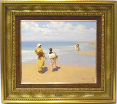 Pablo S. Chías : Figures on the beach. Medium: Oil on wood Measurements (cm): 73x65 Canvas measurements (cm): 48x40 Interior frame: Yes. A great Sevillian painter well known at national and international level and very popular. Famous for his good lines and well known as a painter of light. This picture would make an excellent investment.  $5,940.28