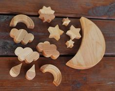 Moon Star Rainbow Cloud Space Wooden Balance Toy - Wooden Balancer Game - Educational set - Wooden toy - Christmas gift - Wooden space toys