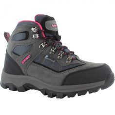 Hi-Tec Hillside Womens Boots--- Waterproof, lace-up #hiking boots with eye-catching #pink detail. Perfect for keeping feet comfortable and dry whilst on the move. #waterproof #footwear #shoes #outdoorfootwear #hikingboots #outdoorboots #outdoors #outdoorclothing