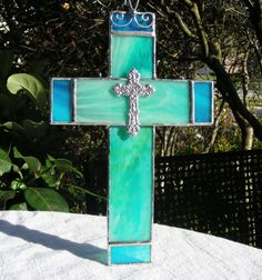 NEW Sea Green and Turquoise Cross with Cross by MoreThanColors,