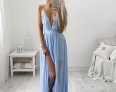 Charming Spaghetti Straps Baby Blue Chiffon Prom Dress, Prom Gowns with Slit, Sexy Prom Dress, Women Dress Low Cut Dresses, Trendy Dresses, Nice Dresses, Casual Dresses, Summer Dresses, Formal Dresses, Grad Dresses, Formal Prom, Bridesmaid Dresses