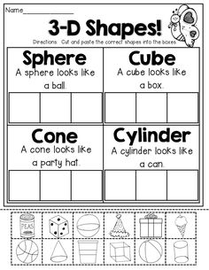 Solid Shapes Worksheets for Kindergarten. 20 solid Shapes Worksheets for Kindergarten. First Grade and Shapes Worksheets Distance Learning 3d Shapes Worksheets, Shapes Worksheet Kindergarten, Math Worksheets, Kindergarten Classroom, Preschool Math, Teaching Math, Math Activities, 3d Shapes Activities, Addition Worksheets