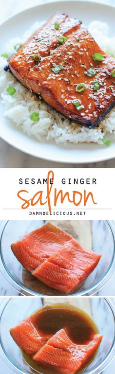 Ginger Salmon Sesame Ginger Salmon - A super easy salmon dish bursting with so much flavor, and it's hearty-healthy too!Sesame Ginger Salmon - A super easy salmon dish bursting with so much flavor, and it's hearty-healthy too! Food For Thought, Think Food, I Love Food, Good Food, Yummy Food, Tasty, Delicious Meals, Yummy Snacks, Salmon Recipes
