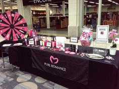Pure Romance vendor booth set up www.pureromance.com/hannahspear Pure Romance Vendor Events, Pure Romance Games, Pure Romance Party, Vendor Table, Vendor Booth, Vendor Displays, Pure Romance Consultant, Passion Parties, Pamper Party