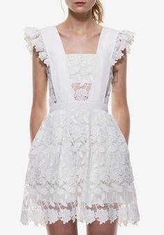 White Lace Flounces Shoulder Hollow Flare Dress 33.67