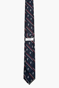 THOM BROWNE Navy striped ANCHOR TIE