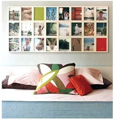Wall gallery is tricky. A straightforward, square style like this one worthy considering. I think the most important thing is to arrange the photos/color scheme, e.g. you need a color that pops out in area that's hardly noticeable like the red and green on this wall,