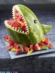 shark fruit bowl made out of watermelon