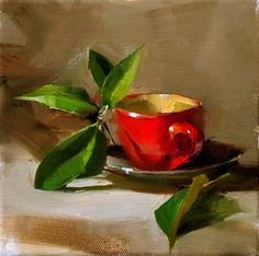 Original artwork from artist Qiang Huang on the Daily Painters Gallery Tea Cup Art, Still Life Fruit, Daily Painters, Painting Still Life, Beautiful Paintings, Painting Inspiration, Original Paintings, Classic Paintings, Illustration