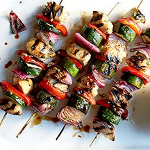 Really good and Easy - Mojo-Marinated Chicken and Vegetable Kebabs with Mixed Greens