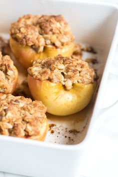 This baked apples recipe is easy enough for tonight, but doubles as the perfect dessert for friends and family (or the holidays). These just might beat apple pie! Recipe on inspiredtaste.net | @inspiredtaste Apple Dessert Recipes, Apple Crisp Recipes, Köstliche Desserts, Baking Recipes, Holiday Recipes, Delicious Desserts, Green Apple Recipes, Baked Apple Dessert, Fluff Desserts