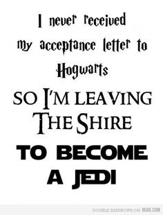 leaving the Shire to become a Jedi