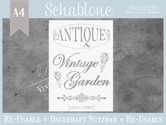 """Schablone """"Vintage Garden"""" * Franske Antique von Basket & Pillow auf DaWanda.com"""