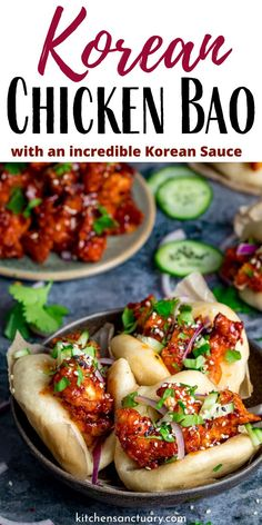 Korean Chicken Bao Korean Chicken Bao - foft and fluffy steamed mini bao buns filled with crispy Korean chicken – with full step-by-step instructions. A fantastic party food idea that will really impress your guests! Healthy Recipes, Cooking Recipes, Healthy Food, Thai Recipes, Mexican Food Recipes, Korean Food Recipes, Best Chinese Recipes, Best Food Recipes, Gastronomia