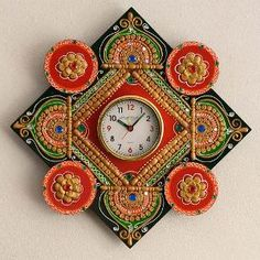 eCraftIndia Wood & Papier-Mache Wall Clock - Red & Green