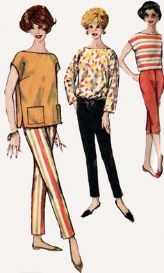 1950s Boat Neck Overblouse and Tapered Slim Pants or Capri Pants Simplicity 2814 Vintage 50s Sewing Pattern Size 14 Bust 34 by sandritocat on Etsy