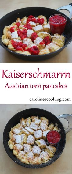 Kaiserschmarrn is a traditional Austrian torn pancake. Thick, fluffy, comforting chunks dusted with sugar and served with fruit. A tasty dessert or brunch.