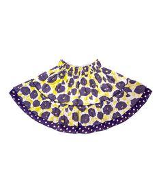 Purple & Yellow Barcelona Tiered Skirt - Toddler & Girls | zulily